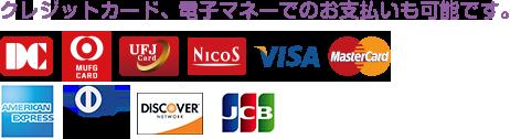 クレジットカード、電子マネーでのお支払いも可能です。